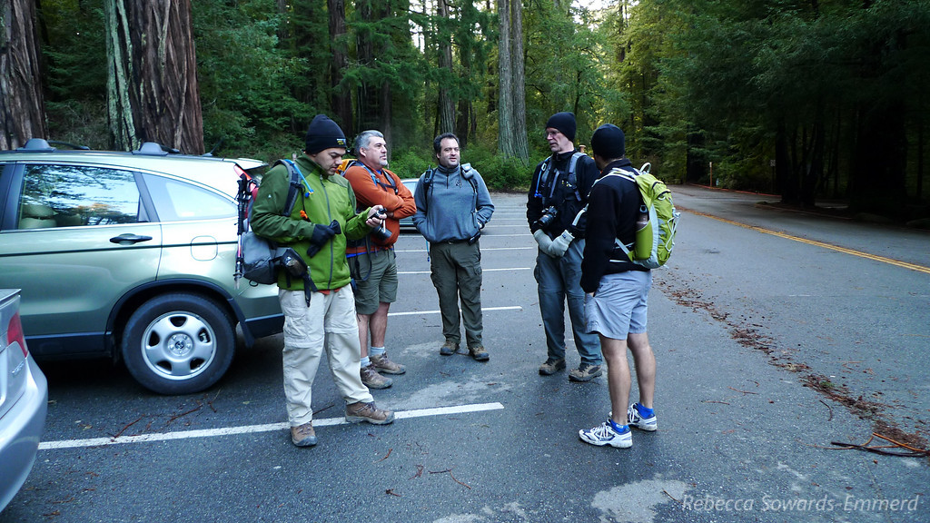 Meeting at the trailhead where it is a brisk 40 degrees out. But the sun is coming out for the first time in far too long and we're happy to be heading out on the trail.