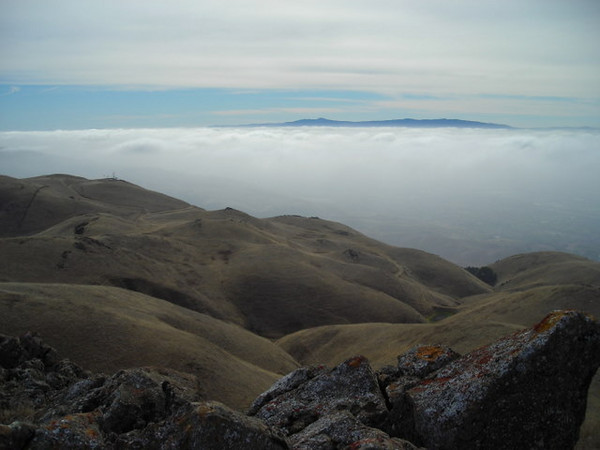 Fog below<br /> <br /> Looking back down over Silicon Valley and the South Bay. I can see the Santa Cruz mountains on the other side of the bay, but not much else.