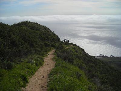 The trail heading down the ridge