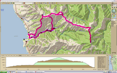 Our round trip track to Palo Corona (view full size for details)  We started down by the beach, then went up the canyon to the summit, and followed the ridge line back down.