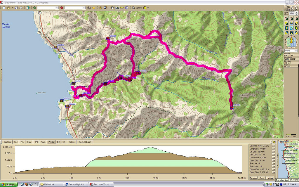 Our round trip track to Palo Corona (view full size for details)<br /> <br /> We started down by the beach, then went up the canyon to the summit, and followed the ridge line back down.