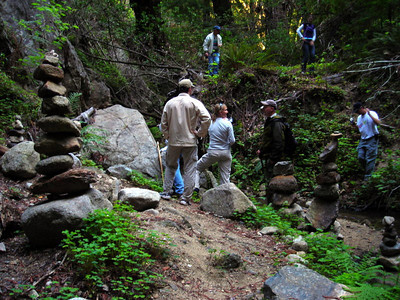 Looking for a geocache at an out-of-the-way rock garden.