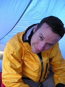 Dave crammed in the small end of the tarptent.