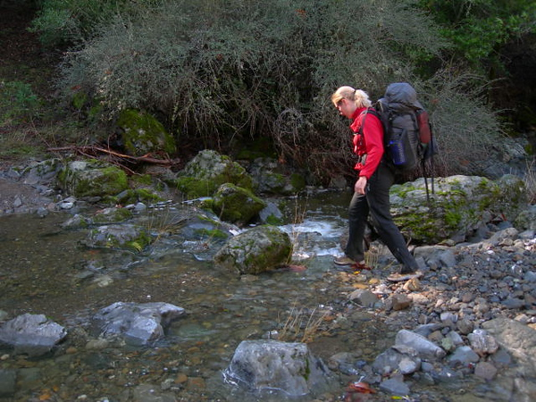 Me crossing a stream<br /> <br /> I'm not used to these types of crossings in Henry Coe.