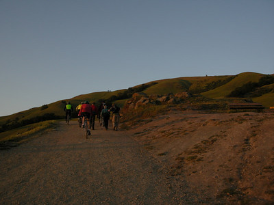 Several people heading up at dusk