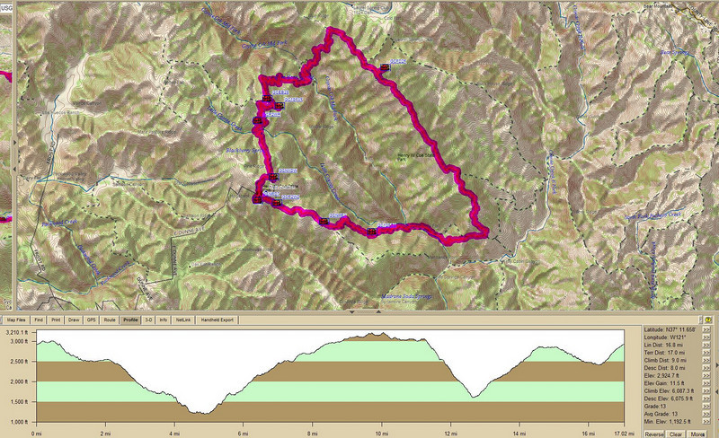 Hike profile<br /> <br /> The hike to Mt Sizer isn't short, no matter which way you approach it. I took a *slightly* longer way around by making the loop through Poverty Flat. 17 miles with 6000 ft of up and down and the GPS track to prove it! Ouch!