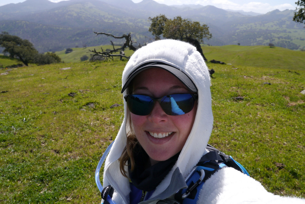 It was breezy and I was a bit cold since I was all sweaty from the climb. temporarily bundled up.