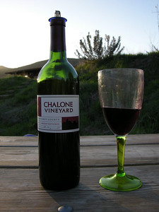 Appropriate adult beverage  Chalone Vineyard is on the other side of the rocks - there is even a profile of the pinnacles on the label.