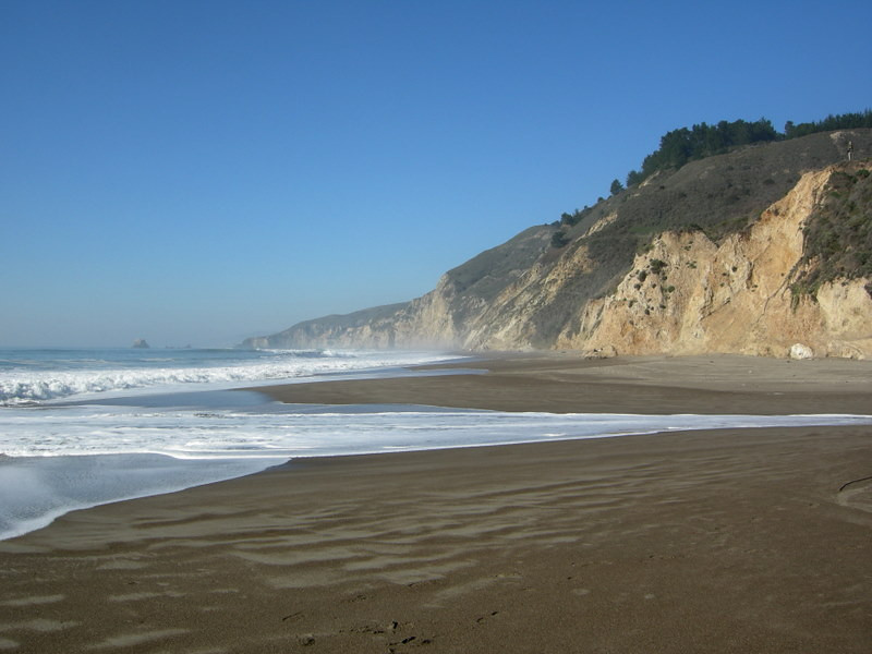 We're taking the walk down the beach to Alamere Falls