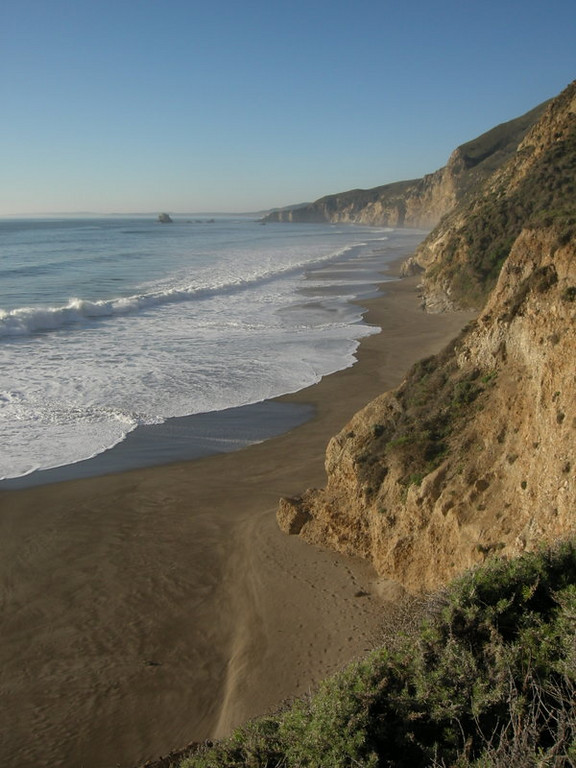 View north along the coast from the bluff by wildcat camp.