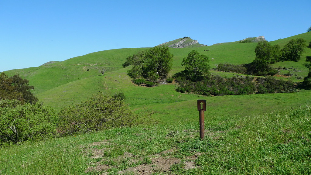 Out of the narrow trail, now I'm heading over to the rocky peaks via old ranch roads.