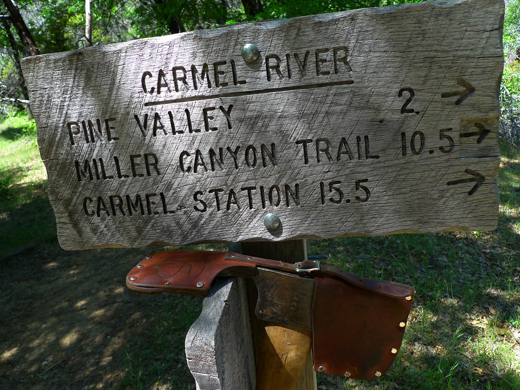 This gorgeous axe was hanging on the sign. Hope the owner camp back for it.