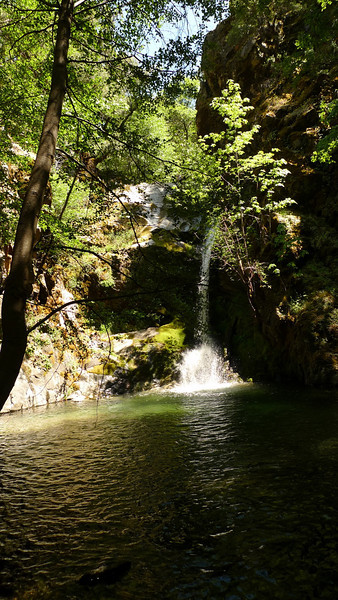 After a mile or so of goat trail, rocky scrambles, splashing in water, and poison oak, we find ourselves at this heavenly swimming hole.