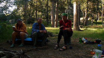Selena, Mike and Mike around our evening campfire.