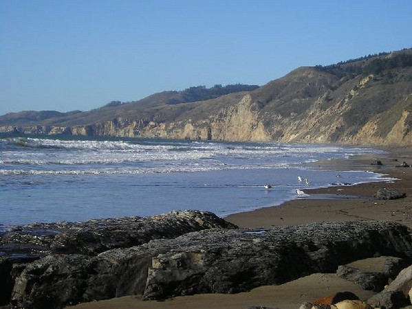 Look down the shore from Alamere falls (toward wildcat)