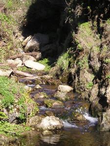 Stream flowing down to ocean