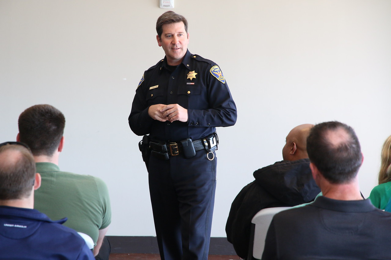 SFPD Commander Robert O'Sullivan and head of CIT Program addressing the CIT class during their graduation.