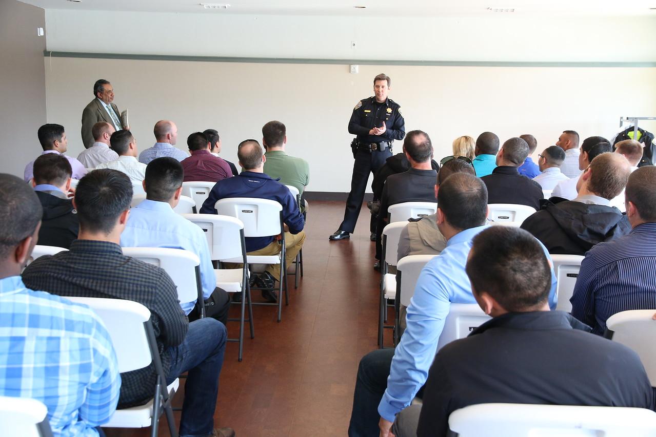 Center, SFPD Commander Robert O'Sullivan and head of CIT Program addressing the CIT class during their graduation. Right, SFPD Lt.Mario Molina, CIT Program Director.