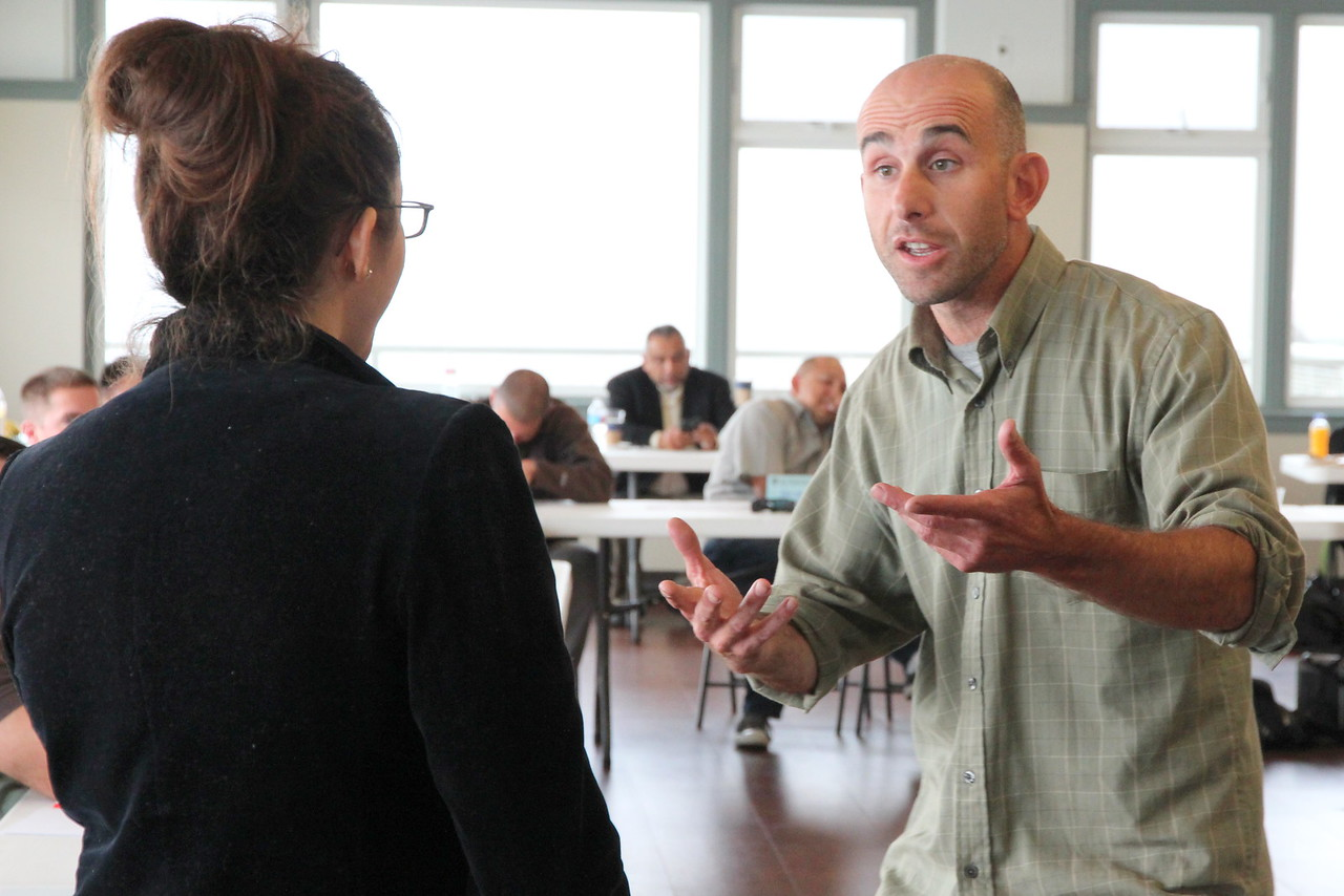San Francisco Police Department (SFPD)  officers in a role play to demonstrate verbal de-escalation techniques.   Crisis Intervention Team (CIT) Training, October 2015.