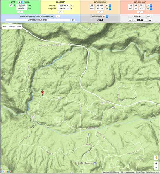 Base Location Rd 134 and Rd 135, Jemez Springs, New Mexico