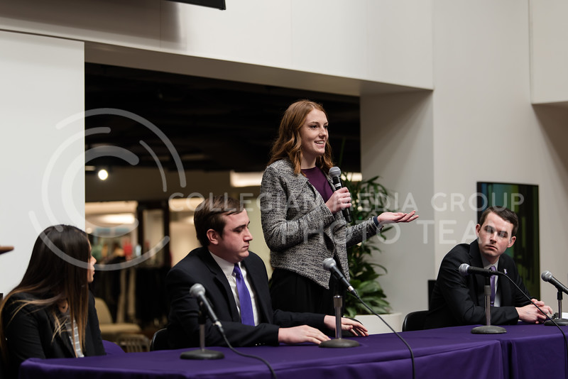 As she addresses the crowd, senior presidential candidate Jordan Kiehl states her platform for the future of Kansas State University Student Governing Association. The Kansas State University Student Governing Association had their 2018 presidential candidate debate at the K-State Student Union on Monday. (Olivia Bergmeier | Collegian Media Group)