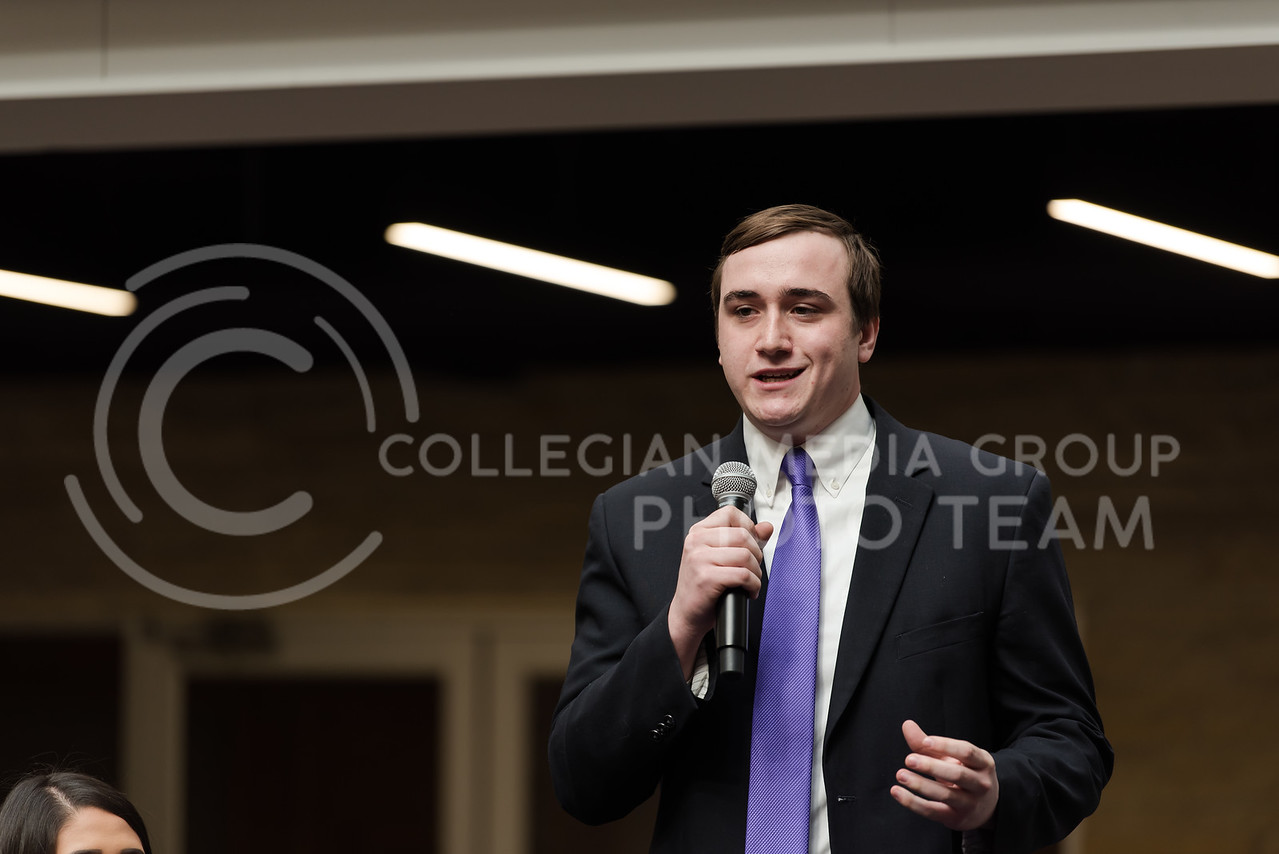 Slightly smiling, junior presidential candidate Karl Wilhelm states his platform for the his presidency of the Student Governing Association. The Kansas State University Student Governing Association had their 2018 presidential candidate debate at the K-State Student Union on Monday. (Olivia Bergmeier   Collegian Media Group)