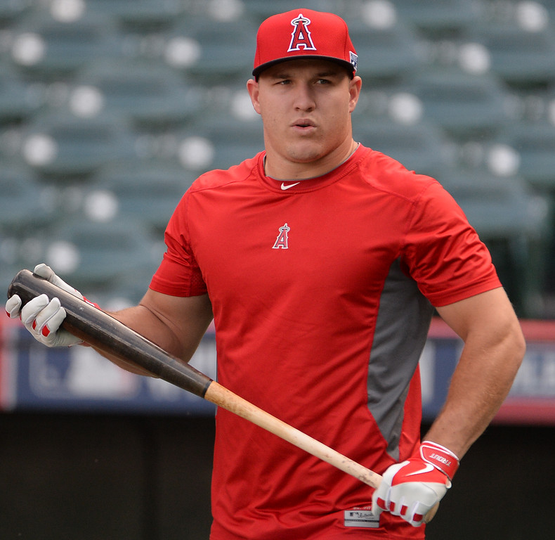 . Los Angeles Angels\' Mike Trout prior to game two of an American League Division Series baseball game against the Kansas City Royals at Angel Stadium of Anaheim in Anaheim, Calif., Friday, Oct. 3, 2014.  (Photo by Keith Birmingham/ Pasadena Star-News)