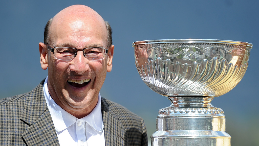 . Hall of fame announcer Bob Miller as the National Hockey League\'s Stanley Cup won by the Los Angeles Kings is on display in the winners circle at Santa Anita Park in Arcadia, Calif., on Saturday, Sept. 27, 2014. (Photo by Keith Birmingham/ Pasadena Star-News)