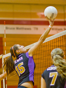 Brahmas' Morgan Bender (15) returns the ball during a first round CIF Playoff volleyball match between the Arcadia High School Apaches and the visiting Diamond Bar Brahmas in Arcadia, CA on November 10, 2009.  (STAR/TRIB/Correspondent photo by David Thomas/SPORTS)