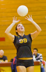 Apaches' Madyson Cassidy (99) sets the ball during a first round CIF Playoff volleyball match between the Arcadia High School Apaches and the visiting Diamond Bar Brahmas in Arcadia, CA on November 10, 2009.  (STAR/TRIB/Correspondent photo by David Thomas/SPORTS)