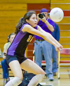 during a first round CIF Playoff volleyball match between the Arcadia High School Apaches and the visiting Diamond Bar Brahmas in Arcadia, CA on November 10, 2009.  (STAR/TRIB/Correspondent photo by David Thomas/SPORTS)