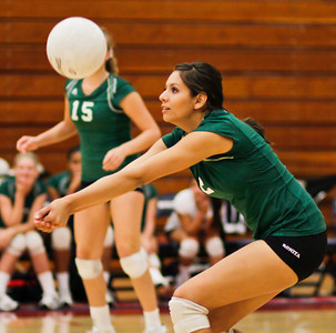 The Bearcat's Cassandra Mejia (2) returns the ball during a CIF Playoff volleyball match between the Maranatha High School Minutemen and the visting Bonita High School Bearcats in Pasadena, CA on November 14, 2009.  (STAR/TRIB/Correspondent photo by David Thomas/SPORTS)