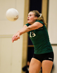 Bearcats' Katy Kirby (15) returns the ball during a CIF Playoff volleyball match between the Maranatha High School Minutemen and the visting Bonita High School Bearcats in Pasadena, CA on November 14, 2009.  (STAR/TRIB/Correspondent photo by David Thomas/SPORTS)