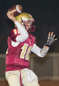 Spartans' quarterback Rocky Moore (10) throws a ashort pass during a football game between the La Canada High School Spartans and the visiting Monrovia High School Wildcats in La Canada, CA on November 6, 2009.  (STAR-NEWS/Correspondent photo by David Thomas/SPORTS)