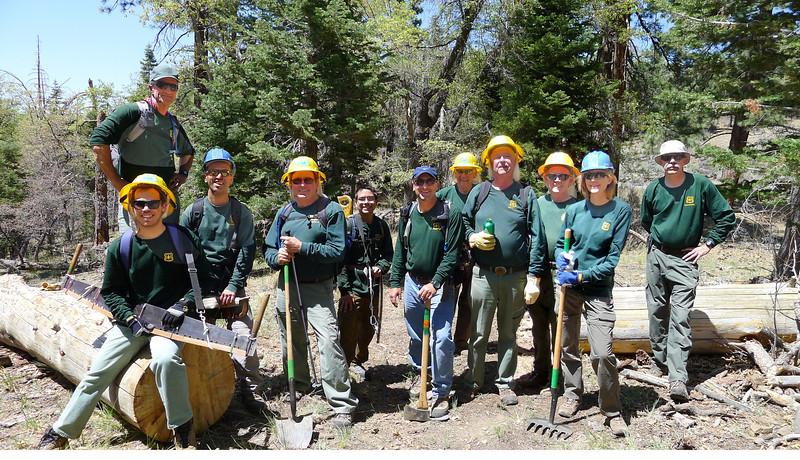 Lost Creek Trail Crew 20May2012 Randy V. (top), Kevin L., Manish P., Ted S., Theo E., Ed N., Don D., Bob Wi., John F., Jennifer B., Bob Wh.