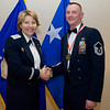 United States Air Force Maj. Gen. Michelle D. Johnson, Deputy Chief of Staff, Operations and Intelligence, SHAPE, Belgium presents Master Sgt. Dennis J. Stehley Jr., 424th Air Base Squadron, Chievres Air Base, Belgium with his medallion prior to the Annual Air Force Awards Banquet on SHAPE Feb. 22. Stehley was nominated for Senior NCO of the Year. (NATO photo by U.S. Army Sgt. 1st Class VeShannah J. Lovelace)