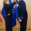 United States Air Force Maj. Gen. Michelle D. Johnson, Deputy Chief of Staff, Operations and Intelligence, SHAPE, Belgium presents Capt. Alexander C. Gruenther, Joint NATO Headquarters, Brussels, Belgium with his medallion prior to the Annual Air Force Awards Banquet on SHAPE Feb. 22. Gruenther was nominated for Company Grade Officer of the Year. (NATO photo by U.S. Army Sgt. 1st Class VeShannah J. Lovelace)