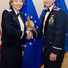 United States Air Force Maj. Gen. Michelle D. Johnson, Deputy Chief of Staff, Operations and Intelligence, SHAPE, Belgium presents Capt. Richard P. Wille, NATO Airborne Early Warning and Control Force Command, SHAPE, Belgium with his medallion prior to the Annual Air Force Awards Banquet on SHAPE Feb. 22. Wille was nominated for Company Grade Officer of the Year. (NATO photo by U.S. Army Sgt. 1st Class VeShannah J. Lovelace)