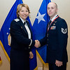 United States Air Force Maj. Gen. Michelle D. Johnson, Deputy Chief of Staff, Operations and Intelligence, SHAPE, Belgium presents Tech Sgt. Travis G. Fahlgren, NATO Airborne Early Warning and Control Force Command, SHAPE, Belgium with his medallion prior to the Annual Air Force Awards Banquet on SHAPE Feb. 22. Fahlgren was nominated for NCO of the Year. (NATO photo by U.S. Army Sgt. 1st Class VeShannah J. Lovelace)