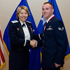 United States Air Force Maj. Gen. Michelle D. Johnson, Deputy Chief of Staff, Operations and Intelligence, SHAPE, Belgium presents Senior Airman Mark S. Lemerond, 424th Air Base Squadron, Chievres Air Base, Belgium with his medallion prior to the Annual Air Force Awards Banquet on SHAPE Feb. 22. Lemerond was nominated for Airman of the Year.  (NATO photo by U.S. Army Sgt. 1st Class VeShannah J. Lovelace)