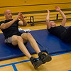 United States Army Chief Warrant Officer 3 Paul Brady participates in Circuit Training at the post gym led by British Royal Air Force Corporal Steve Furness, Physical Training Instructor April 5. (NATO photo by U.S. Army Sgt. 1st Class VeShannah J. Lovelace)