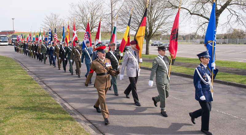 SHAPE celebrates 50 years in Mons<br /> <br /> The SHAPE Honour Guard enters the Field during the celebration of the 50th Anniversary of the Surpeme Headquarters Allied Powers Europe in Mons on March 31, 2017. (NATO Photo by Sgt. 1st Class Stefan Hass – DEUA)