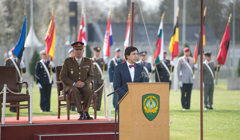 SHAPE celebrates 50 years in Mons<br /> <br /> The Mayor of Mons, Mr. Elio di Rupo, speaks during a ceremony to commemorate the Supreme Headquarters Allied Powers Europe 50th anniversary in Belgium, March 31, 2017 (NATO Photo by Sgt. 1st Class Stefan Hass – DEUA)