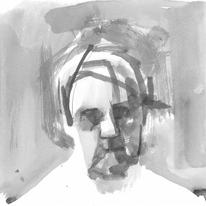 Self-portrait in ink