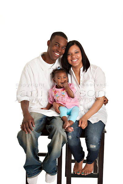 Portrait Young Black Family of Three Mother Father Baby Daughter