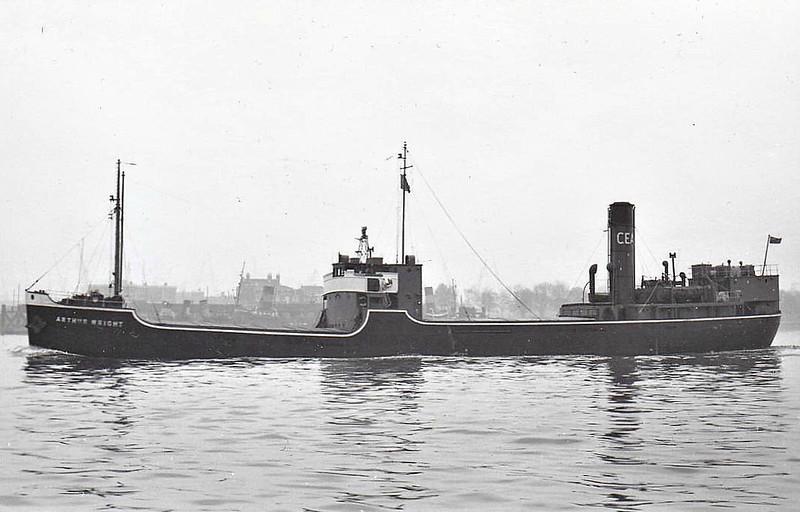 1937 to 1958 - ARTHUR WRIGHT - Cargo - 1091GRT - 64.2 x 10.1 - 1937 Pickersgill & Co., Southwick, No.236 - 1958 ARISTON - 09/03/63 fire off Stubbekobing, 07/63 broken up at Masnedsund.