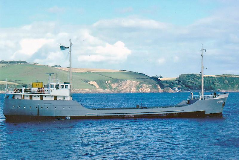 1955 to 1985 - WEGRO - Cargo - 485GRT/659DWT - 51.6 x 8.6 - 1955 Scheeps Foxhol, No.96 - 07/85 broken up at Queenborough.