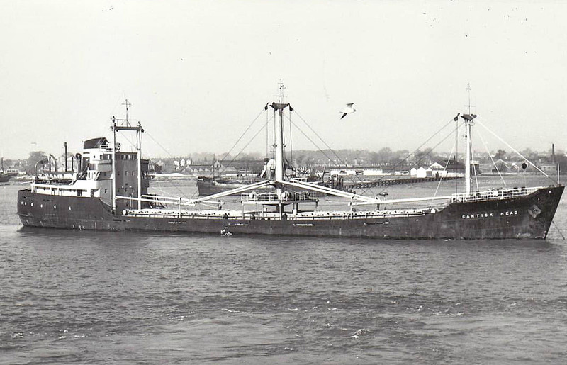 1958 to 1971 - CANTICK HEAD - Cargo - 1591GRT/2245DWT - 82.1 x 12.1 - 1958 George Brown & Co., Greenock, No.270 - 1971 MANTHOS M, 1975 C BURTON BARBER, 1976 ALBI PIONEER, 1977 KENTUCKY, 1978 BURTON BARBER, 1979 STONE AMBER, 1981 NESAM - 14/11/82 sank 150nm west of Penzance, Casablanca for Whitehaven with phosphates.