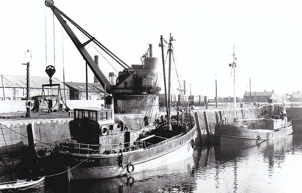 1934 to 1967 - INVERCLOY - Cargo - 95GRT - 20.4 x 5.6 - 1934 Scotts Shipbuilders, Bowling - G&G Hamilton - 1948 converted to oil burning, 1967 broken up - seen here loading coal with SEALIGHT (Glasgow) - 154GRT/30 - broken up 1966.