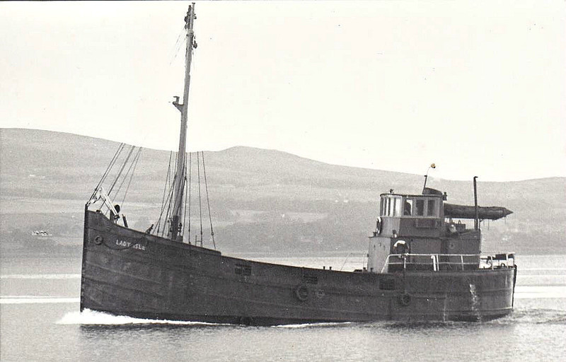 1965 to 1974 - LADY ISLE - Cargo - 96GRT/140DWT - 20.4 x 5.6 - 1942 R Dunston & Co., Thorne as VIC 9 (1942-47) -   Irvine Shipping Co. - 1947 Admiralty water carrier, C667, 1949 sold, whereabouts not known - 1974 sold to Scapa Shipping Co., 1981 broken up.